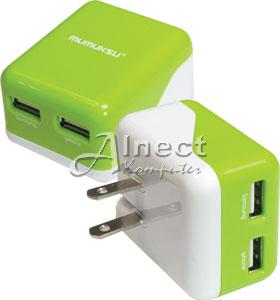 Travel AC Charger USB Adaptor 2 Port Mumuksu